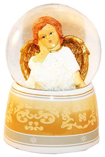 20039 - Schneekugel Engel beige/weiß mit Spieluhr 140mm hoch