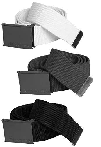 Urban Classics Unisex Canvas Belts Gürtel, Mehrfarbig (Blk/Gry/Wht 00574), 120 cm (3er Pack)