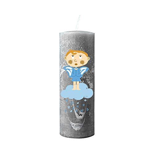 Kerzenhelden Taufkerze mit Namen und Datum Motiv Engel auf Wolke Junge Geschenk Taufe Rustic Grau