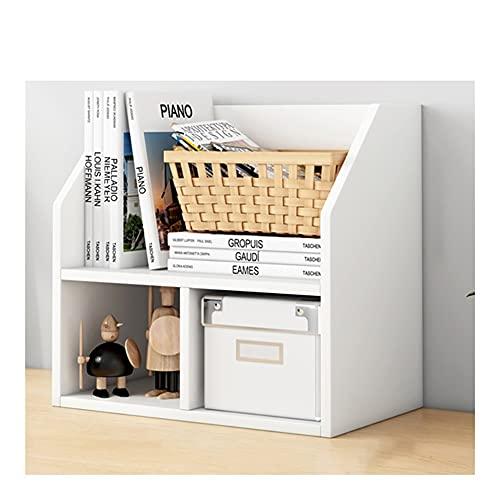 AWYST Buch Halter Desktop Bücherregal Display Regal 2-Tier Bücherregal Makeup Organizer Magazine-Dateihalter für Schreibtisch-Zubehör Buchstützen (Color : White)