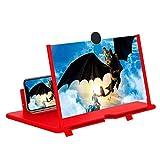 STEBRUAM 12' Lupa de Pantalla 3D HD teléfono Inteligente Lupa Pantalla de proyector para películas,Videos y Juegos Soporte de teléfono Plegable con Amplificador de Pantalla