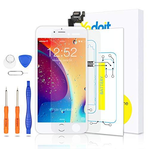 Yodoit Pantalla Completa para iPhone 6 Plus LCD Blanco, Ensamblaje de Reemplazo del Digitalizador con Piezas de Repuesto (cámara Frontal, Botón Home) + Herramienta (5,5 Pulgadas)