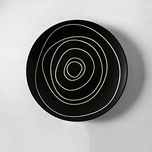 Plaat Japanse Persoonlijkheid Handgeschilderde Jaarlijkse Ringen Zwart en Wit Coil Keramische Servies Mok Gerechten Schotel Set Accessoires Black Market