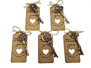 50pcs Skeleton Key Bottle Opener Wedding Party Favor Souvenir Gift with Escort Tag and Jute Rope Red Copper Tone,5 styles