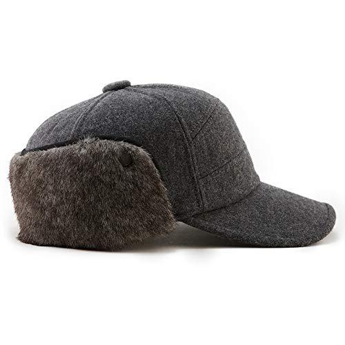 Fancet Grey Elmer Fudd Winter Fitted Baseball Cap Wool Earflap Hunting XL Hat for Large Head Men Women 60-62cm