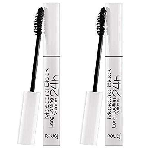 2x Rougj - Mascara Black Long Lasting Volume 24h - 10 ml - Pacchetto contenente 2 Mascara da 10 ml | Make Up e accessori per il trucco