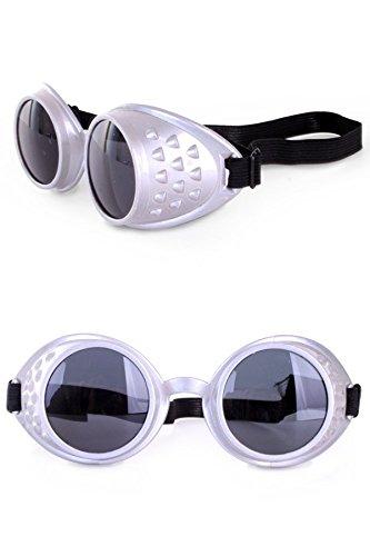 shoperama Gafas Steampunk, plateadas, gafas de soldador, accesorio para disfraz de hombre