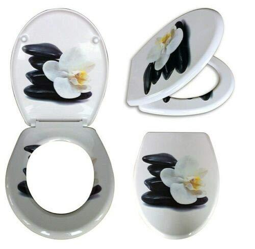 WC Sitz mit Absenkautomatik Orchidee Toilettendeckel Toilettensitz Klodeckel weiss