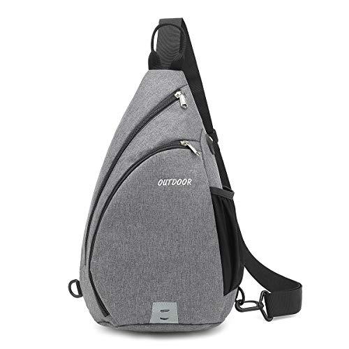 XQXA Brusttasche Schultertasche, 2020 Crossbody Umhängetasche Sporttasche Kompatibel Herren Damen Mädchen Jungen Reise Daypack, Schule(Grau)…