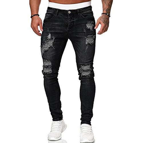 OEAK Jeans Déchiré Homme Pantalon en Denim Serré Trou Biker Jeans Skinny Slim Fit Stretch Élastique Pants Casual Vintage