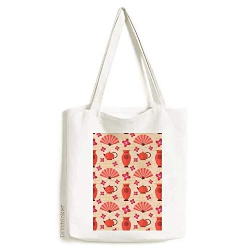 Bolsa de lona Sakura para ventilador de vaso japonês, bolsa de compras casual