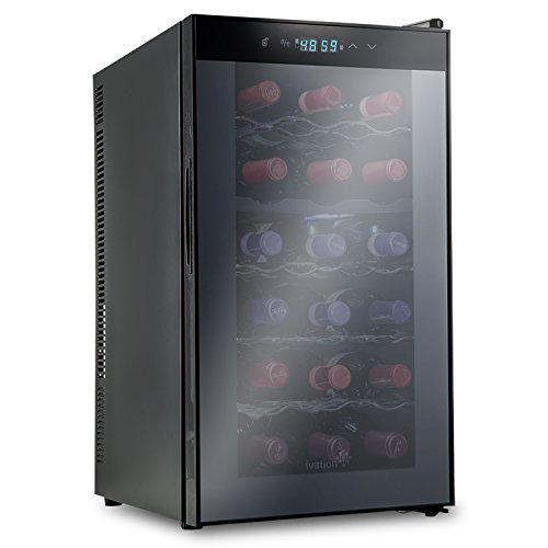 Ivation 18 Bottle Dual Zone Thermoelectric Red & White Wine Cooler/Chiller Counter Top Wine Cellar with Digital Temperature Display, Freestanding Refrigerator Smoked Glass Door Quiet Operation Fridge