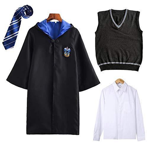 FStory&Winyee Harry Potter Kostüm Kinder Erwachsene Umhang Unisex Gryffindor Hufflepuff Ravenclaw Slytherin Outfit Set Cape,Krawatte,Hemd,Weste Fasching