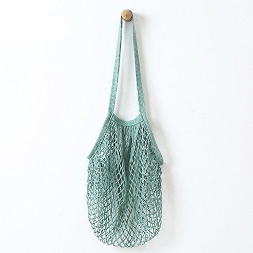 Wiederverwendbare Einkaufstasche von Metyou, aus Netzstoff, Organizer, Einkaufen, Tasche für Obst, Aufbewahrung, Shopper grün