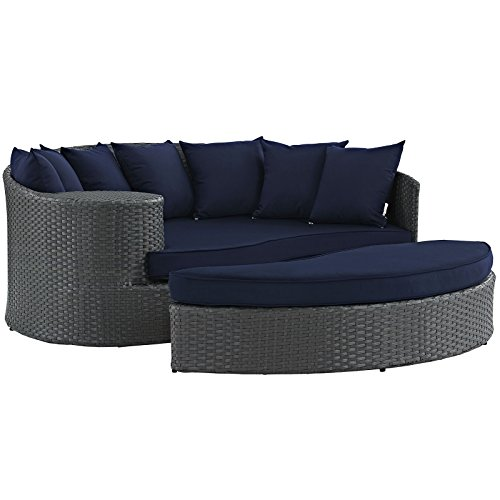 Modway Sojourn Wicker Rattan Outdoor Patio Sunbrella Fabric Daybed in Canvas Navy