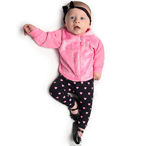 Conjunto Bebê Menina Blusa Pelo e Legging Preta (M)