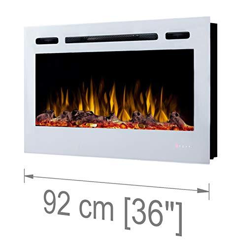Noble Flame Paris Weiß 920 - Elektrokamin Wandkamin Kaminofen Kamin - Wandmontage Fernbedienung - 14,0 cm Einbautiefe - Verschiedene Breiten
