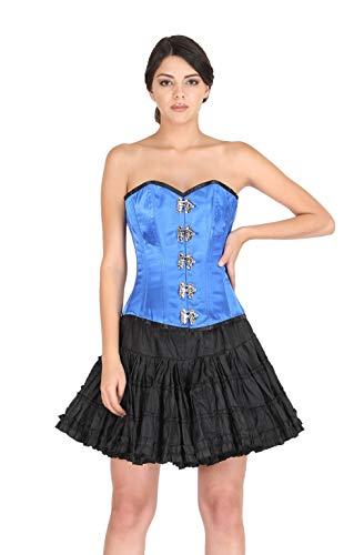 Azul Satén Goth Steampunk Disfraz de Halloween Cintura Entrenamiento Overbust Corsé Top, azul, (cintura 26/27')