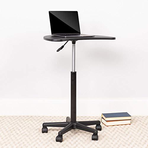 Flash Furniture Laptoptisch – Erhöhter Computertisch zum Sitzen und Stehen – Kompakter Stehtisch im modernen Design – Schwarz
