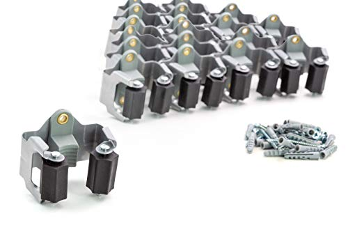 BS Gerätehalter (20er Set) hochwertiger Besenhalter Wandhalterung optimale Aufbewahrung Aller Geräte - Gartengerätehalter - Haushaltsgeräte - Werkzeug – Gratis Schrauben und Dübel - Montageanleitung