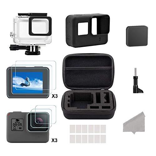 Hieha 24 in 1 Zubehör Kit, Cam Kamera Zubehör Set mit Reisetasche Small/Gehäuse Case/Displayschutzfolie/Objektivdeckel/Silikon Schutzhülle für GoPro Hero (2018) GoPro Hero 6 Hero 5 Action-Kamera