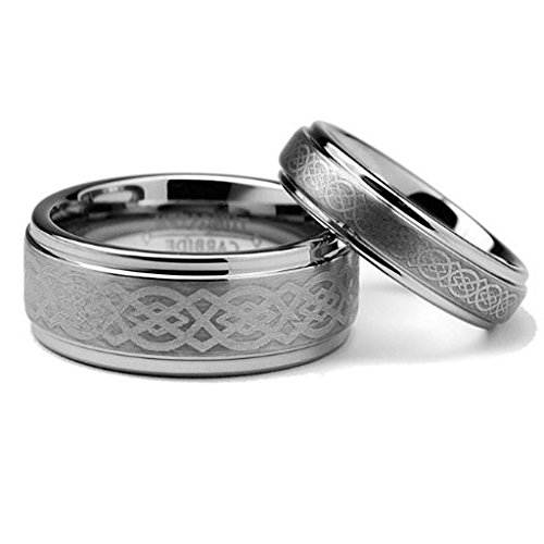 Ring for Men and Ring for Women His & Her's 8MM/6MM Tungsten Carbide Wedding Band Ring Set w/Laser Etched Celtic Design Wedding Band Ring Ideal Rings for Couples