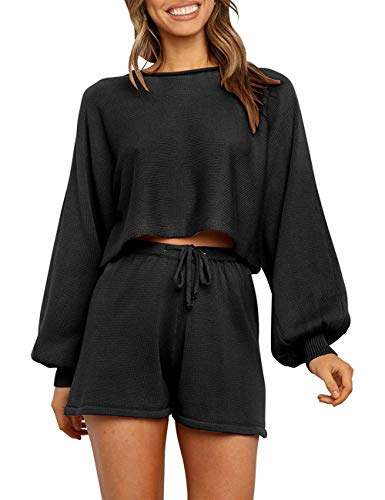 SYZRI Women's 2 Piece Knit Outfits Puff Sleeve Crop Top Shorts Set Sweater Sweatsuit, Black, S