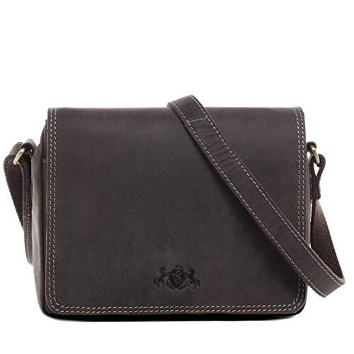 SID & VAIN Schultertasche | Vintage-Look | echt Leder Sandy klein Handtasche Umhängetasche Ledertasche Damen braun