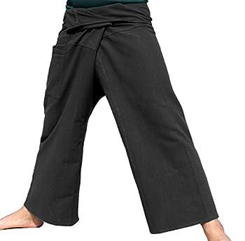 RaanPahMuang Thai Fisherman Pants Men/Women Loose Yoga Pirate Harem Pants 100% Cotton Unisex Kimono Pants X-Large Black