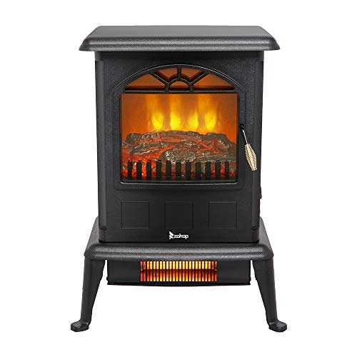 "ZOKOP 22.5"" H Electric Fireplace Stove Infrared Quartz Heater - ETL 1500w Infrared Space Heater with 2 Heat Settings, Overheat Shut Off Protection, Rome Heater For Home Indoor Use, Black"
