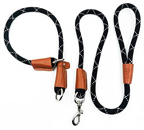THE MURPH STORE - Set met riem en halsband voor honden, trainingslijn, hondenlijn, halsband en anti-treklijn (L/XL (58 cm))