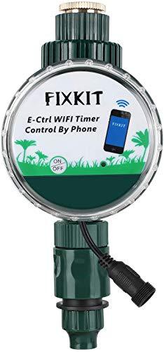 FIXKIT Bewässerungscomputer mit WiFi-Fernbedienung, jederzeit Bewässerung, präzise bis zur zweiten, Wasserdichten Schutzklasse IP68 für Blumen, Rasen, Tropfbewässerungssysteme