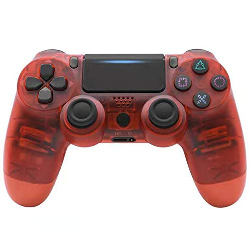 ERGGQAQ Gamepad Inalámbrico Bluetooth, Controlador PS4, con Barra luz LED y Panel Táctil, para Playstation 4 Pro/PC/Teléfono Celular/Tableta/Switch/Joystick Juego DualShock 4,Transparent Red