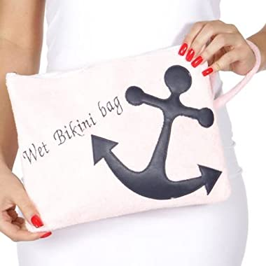 Knitting Factory Water Proof Cotton Towel Wet Bikini Bag Anchor Selection (Anchor-Pink)
