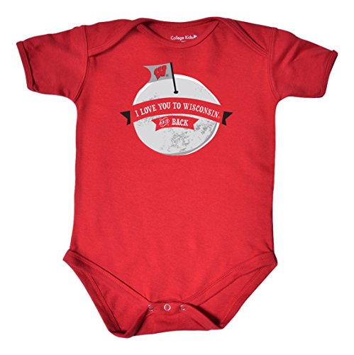 NCAA Wisconsin Badgers Infant Short Sleeve Bodysuit, 0-3 Months, Red