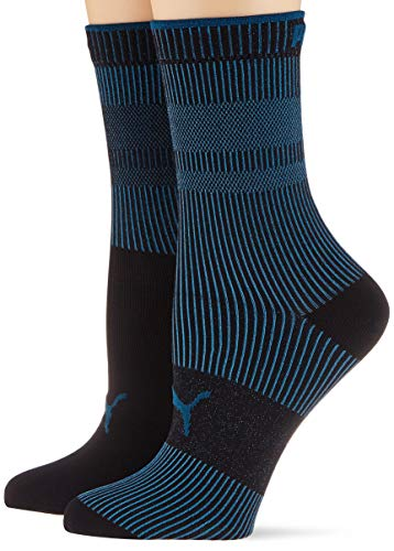 PUMA womens Women's Ribbed (2 pack) Casual Sock, petrol blue, 39/42 (2er Pack)
