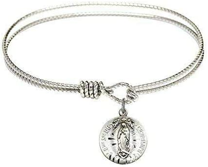 RIF Store Rhodium Plate Textured Bracelet Inexpensive Our Some reservation Bangle with Round
