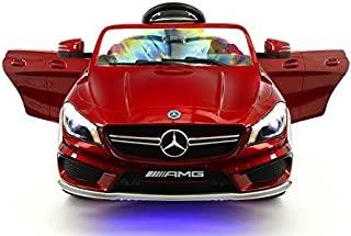 Moderno Kids Mercedes CLA45 Children Ride-On Car with R/C Parental Remote 12V Battery Power LED Wheels Lights + 5 Point Seat Belt + MP3 Music Player + Baby Tray Table + Rubber Floor Mats (Cherry Red)