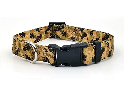 Collar de perro con estampado de camuflaje grande y mediano tamaño perro Nylon Collar de poliéster para perro Suministros de perro pequeños accesorios para perros-camuflaje del desierto