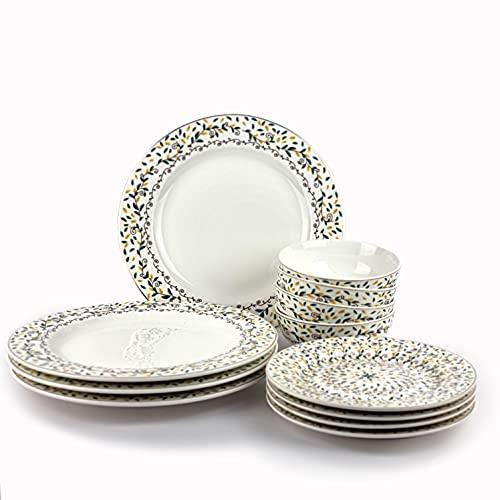 Conjunto vajillas porcelana 12 piezas moderna colores (4 personas) (VERDE FLORES)