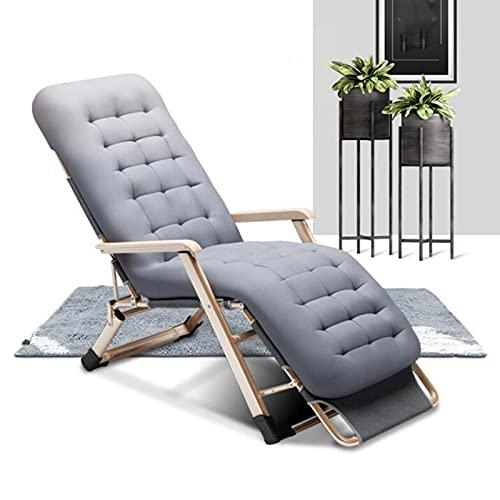 BKWJ Sillones de Exterior con cojín extraíble, sillones reclinables Plegables para Broncearse, reposapiés Ajustable y Respaldo