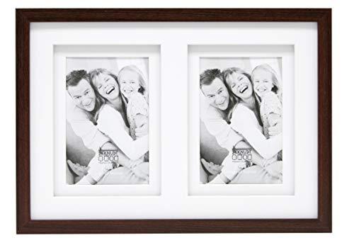 Deknudt Frames S65KQ2 Bilderrahmen 10x15 Holz Braun, doppeltes Pptt für 2 Bilder Holz Fotokader