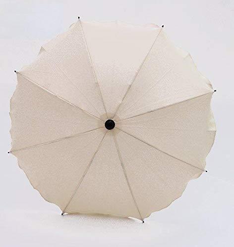 Best For Kids Universal Kinderwagenschirm NEUSTE TECHNIK Höchster UV Schutz Standard 801 - Sonnenschirm und Regenschirm für Kinderwagen, biegsam und einklappbar, 15 Farben zur Auswahl (Creme)