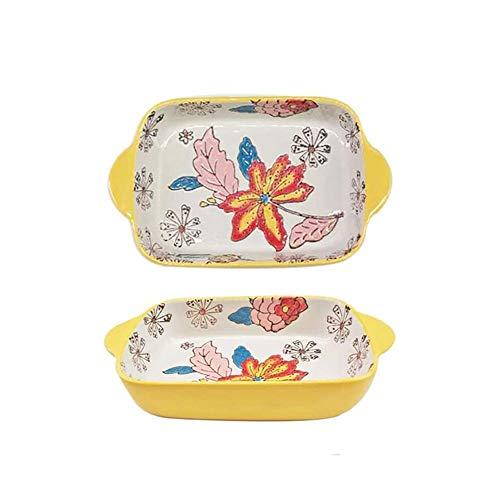 SMSOM Cerámica Pequeña Plato para Hornear Bakeware Set - Pan de horneado Rectangular de Porcelana Pintada por Color para Verduras, lasañas, cazuela, Pan, Brownie - Conjunto de 2, 4 Colores