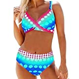 B/H Costume da Bagno Scollatura a V Coppe,Bikini con Stampa Push-up Tie Dye,Costume da Bagno Estivo con Fasciatura Sexy-Lake_Blue_M,Spiaggia Bandeau Beachwear Swimwear