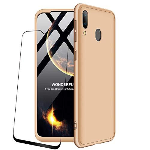 JOYTAG compatibles para Funda Samsung Galaxy M20 Carcasa +Protectora de película de Vidrio Templado 360 Grados Ultra Delgado 3 en 1 Case-Oro