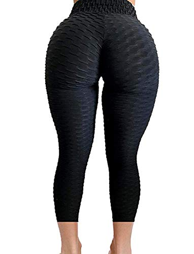 SEASUM Women's Brazilian Capris Pants High Waist Tummy Control Slimming Booty Leggings Workout Running Butt Lift Tights L