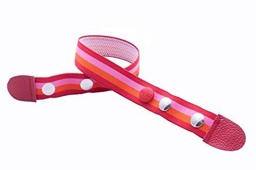 Clip.Ho - riem zonder gesp, elastische riem rood/roze/oranje