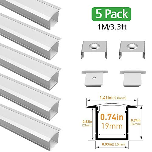 lightingwill Silber U Form interne Breite 20mm LED Aluminium Profil mit Abdeckung, Ende und Befestigungsclips für LED-Streifen-Licht Installationen - U05S-5x1M-Pack