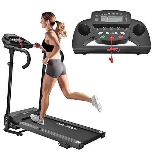 Azkoeesy Laufband für zuhause,Laufband Elektrisches Klappbar Fitnessgerät Heimtrainer verstaubar kompakt mit LCD-Display Tablethalterung